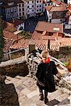 Woman Descending Stairs, Cudillero, Asturias, Spain    Stock Photo - Premium Rights-Managed, Artist: Mike Randolph, Code: 700-01878881
