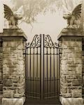 Gate With Winged Dog Statues    Stock Photo - Premium Royalty-Free, Artist: Nora Good, Code: 600-02046390
