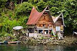 Traditional Buildings on Lake Shore, Lake Toba, Sumatra, Indonesia