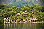 Traditional Buildings on Lake Shore, Lake Toba, Sumatra, Indonesia