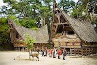Traditional Dance by Traditional Buildings, Samosir Island, Sumatra, Indonesia    Stock Photo - Premium Rights-Managednull, Code: 700-02046542