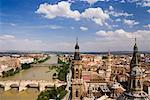 Overview of Ebro River from Basilica of Our Lady of the Pillar, Zaragoza, Aragon, Spain