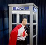 Man Opening Shirt to Reveal Super Hero Costume in Phone Booth    Stock Photo - Premium Royalty-Free, Artist: SCS Studio, Code: 600-02071275