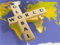 Word Tiles Over World Map    Stock Photo - Premium Rights-Managednull, Code: 700-02080036