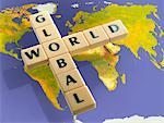 Word Tiles Over World Map    Stock Photo - Premium Rights-Managed, Artist: Huber-Starke, Code: 700-02080036