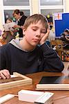 Boy Sleeping in Classroom    Stock Photo - Premium Rights-Managed, Artist: Norbert Kramer, Code: 700-02080341