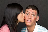 Woman Kissing Man    Stock Photo - Premium Rights-Managednull, Code: 700-02080503