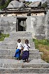 Girls Walking Down Stairs, Gingee Fort, Tamil Nadu, Viluppuram District, India    Stock Photo - Premium Rights-Managed, Artist: John Cullen, Code: 700-02081606