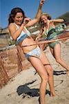 Women Playing With Hula-Hoops, Newport Beach, Orange County, Southern California, California, USA