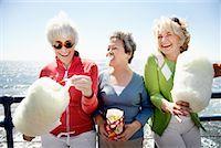 Women Eating Cotton Candy, Santa Monica Pier, Santa Monica, California, USA    Stock Photo - Premium Rights-Managednull, Code: 700-02081978