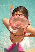 Girl Wearing Snorkel and Goggles    Stock Photo - Premium Royalty-Freenull, Code: 600-02082091