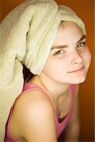 preteen girls bath - Portrait of Girl With Towel Wrapped Around Hair    Stock Photo - Premium Rights-Managednull, Code: 700-02082095