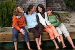Women on Dock, Stinson Beach, California, USA    Stock Photo - Premium Rights-Managed, Artist: Ty Milford, Code: 700-02121681