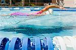 Woman Swimming Laps, Long Beach, California    Stock Photo - Premium Rights-Managed, Artist: Ty Milford, Code: 700-02125556
