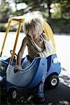 Boy with Cast Playing in Toy Car    Stock Photo - Premium Rights-Managed, Artist: Derek Shapton, Code: 700-02129071
