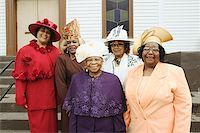 Five senior women wearing hats. Stock Photo - Premium Royalty-Freenull, Code: 673-02138492
