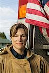 Portrait of a female firefighter Stock Photo - Premium Royalty-Free, Artist: Eyecandy Pro, Code: 673-02139176
