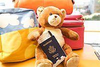 Teddy bear holding passport Stock Photo - Premium Royalty-Freenull, Code: 673-02142771