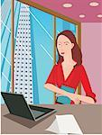 Front view of a working woman Stock Photo - Premium Royalty-Freenull, Code: 645-02153336