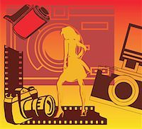 film strip - Woman with cameras and filmstrip Stock Photo - Premium Royalty-Freenull, Code: 645-02153377