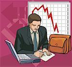 Businessman with laptop and line graph in background. Stock Photo - Premium Royalty-Freenull, Code: 645-02153387