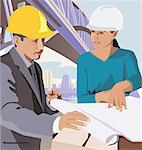 Engineers with blueprint Stock Photo - Premium Royalty-Freenull, Code: 645-02153423