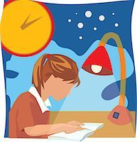 students learning cartoon - Side view of a girl studying book Stock Photo - Premium Royalty-Freenull, Code: 645-02153430