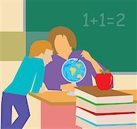 students learning cartoon - Teacher showing globe to student Stock Photo - Premium Royalty-Freenull, Code: 645-02153433