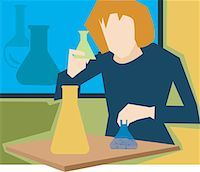 students learning cartoon - Front view of  girl in a science laboratory Stock Photo - Premium Royalty-Freenull, Code: 645-02153443