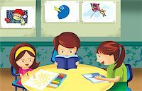 students learning cartoon - Student Studying In Class Room Stock Photo - Premium Royalty-Freenull, Code: 645-02153449