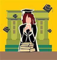 students learning cartoon - Front view of a graduate woman standing by the campus Stock Photo - Premium Royalty-Freenull, Code: 645-02153450