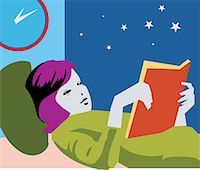 students learning cartoon - Girl reading book while lying on bed Stock Photo - Premium Royalty-Freenull, Code: 645-02153452