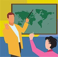 students learning cartoon - Teacher showing world map to student in geography class Stock Photo - Premium Royalty-Freenull, Code: 645-02153455