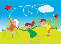 students learning cartoon - Front view of children playing in a park Stock Photo - Premium Royalty-Freenull, Code: 645-02153464
