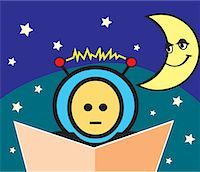 students learning cartoon - Boy reading book with crescent moon and stars Stock Photo - Premium Royalty-Freenull, Code: 645-02153465