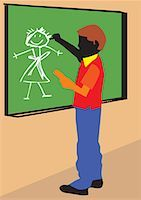 students learning cartoon - Side view of a boy making drawing on board Stock Photo - Premium Royalty-Freenull, Code: 645-02153470
