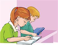 students learning cartoon - Side view of student studying with concentration Stock Photo - Premium Royalty-Freenull, Code: 645-02153474