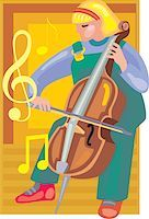 students learning cartoon - Front view of a girl playing violin Stock Photo - Premium Royalty-Freenull, Code: 645-02153476