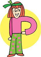 students learning cartoon - Front view of girl forming P Stock Photo - Premium Royalty-Freenull, Code: 645-02153493