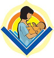 Side view of mother holding baby Stock Photo - Premium Royalty-Freenull, Code: 645-02153518