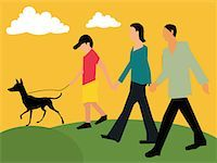 Side view of family walking with their pet Stock Photo - Premium Royalty-Freenull, Code: 645-02153533