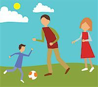 Family playing in park Stock Photo - Premium Royalty-Freenull, Code: 645-02153541