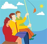 Side view of family fishing together Stock Photo - Premium Royalty-Freenull, Code: 645-02153546