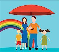 Front view of family standing with umbrella Stock Photo - Premium Royalty-Freenull, Code: 645-02153547