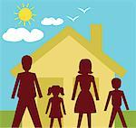 Front view of family standing in front of a house Stock Photo - Premium Royalty-Freenull, Code: 645-02153549