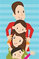 Family lined up in a row Stock Photo - Premium Royalty-Freenull, Code: 645-02153550