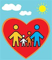 Family Standing in heart shape Stock Photo - Premium Royalty-Freenull, Code: 645-02153551