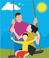 Parents with child on a swing Stock Photo - Premium Royalty-Freenull, Code: 645-02153553