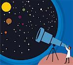 Side view of a person looking stars through telescope