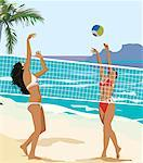 Two young ladies playing volley ball on the beach Stock Photo - Premium Royalty-Freenull, Code: 645-02153687
